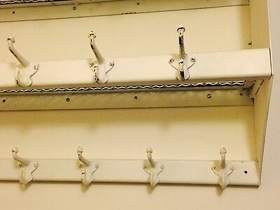 Vintage Industrial Steel 17 Coat Hat Rack Hook Wall Hanging Shelf Midcentury 4