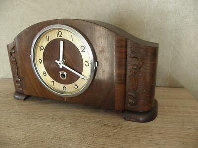vintage wood clock  Electro-Mechanical Battery art deco vtg retro old carved 8