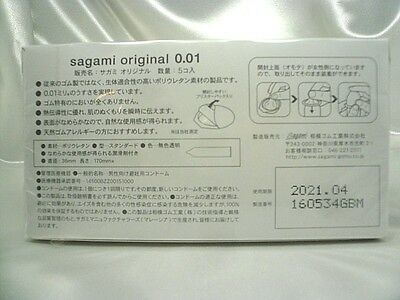 Sagami 001 0.01 Non Latex Condom 5 pcs Regular size Ultra Thin 0.01mm Japan F/S 2