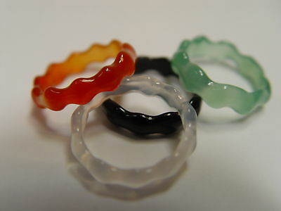 1 X GREEN RIPPLED AGATEGEMSTONE RING US Size 7 Wicca Witch Goth Pagan