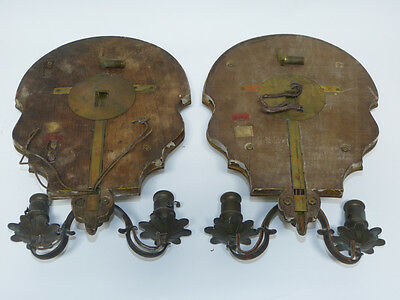 Pair of Wheel Cut Gilded Electric Candle Wall Sconces Sterling Bronze New York 6