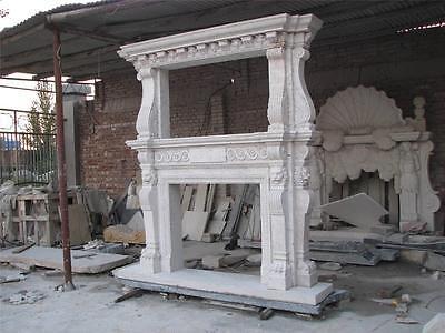 Large Estate Hand Carved Fireplace Mantel - Fireplace Mantel - Monumental Mantel 4