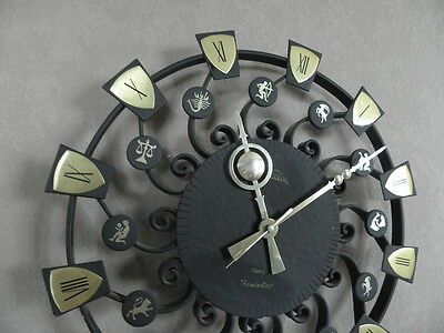 large WALL CLOCK, WROUGHT IRON RETRO VINTAGE MID CENTURY selva sgn horoscope old 6