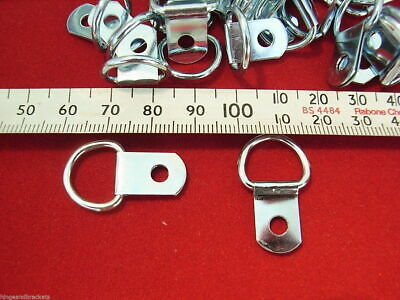 Picture Frame D Ring x 200 Canvas Hangers 28mm x 17mm Strong Nickel Plated Hooks 11
