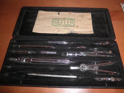 Juego De Compases Y Tiralineas Vintage Riefler Alemanes Germany 27X11X2 Cms. C36 9
