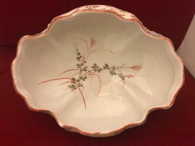 "AA Vantine Nippon Era 8"" Footed Low Bowl w Raised Enamel Flowers and Butterflies 8"