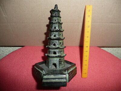 Antique Small Cast Bronze Chinese Temple,Pagoda,Sticks Incense Burner,NicePatina 9