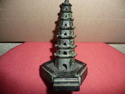 Antique Small Cast Bronze Chinese Temple,Pagoda,Sticks Incense Burner,NicePatina 7