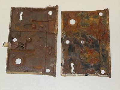"Antique 4.5""x3.5"" NORWICH RIM DOOR LOCK Box #570 2 Pat'd Sept 20 1870 Parts 2 PC 2"