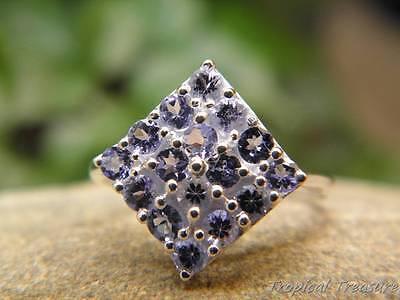 Tanzanite & 925 SOLID Silver RING (Size 7.5, O 1/2)  #450157