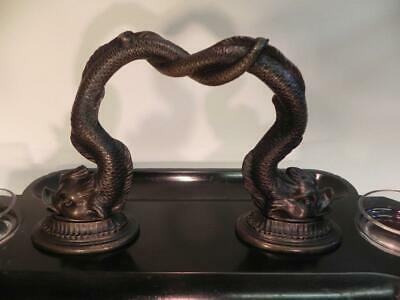 Antique Victorian Ink Stand.  Bronze Dolphins on Black Slate (W/F) (236) 2