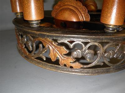 Antique Bronze Gothic Arts& Crafts Pr Sconces Lights Cold Painted Acorns Shield 8