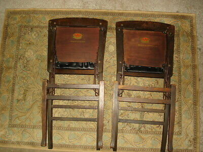 2 Solid Kumfort Antique wooden Folding Chairs USA patent Louis Rastetter & Sons 3