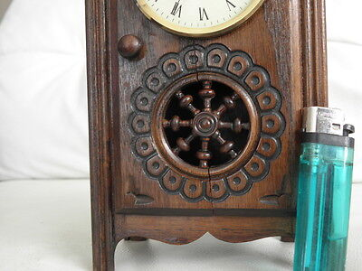 STUNNING ANTIQUE MINIATURE wood MANTLE CLOCK vintage retro uhr 5