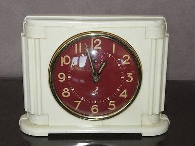 vintage clock alarm jaz retro desk  Art Deco design  Mechanics uhr old french 7