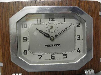 vintage wood clock alarm vedette retro desk  Art Deco design Mechanics uhr 6