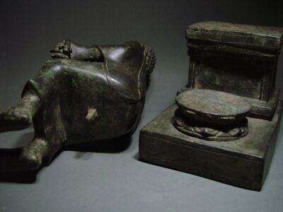 ENTHRONED BRONZE MON DVARAVATI BUDDHA 'EUROPEAN STYLE'. BURMA INFLUENCE 17/18thC 12