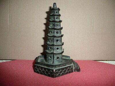 Antique Small Cast Bronze Chinese Temple,Pagoda,Sticks Incense Burner,NicePatina 2