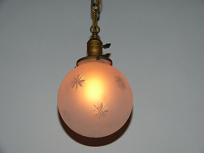 Gold Painted Brass Pendant Light with Acid Etched Wheel Cut Glass Shade GE 4
