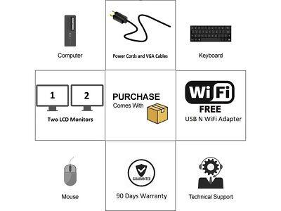 """Dell or hp Desktop PC Computer Core 2 Duo 500GB 4GB DUAL 19"""" LCD WiFi Windows 10"""