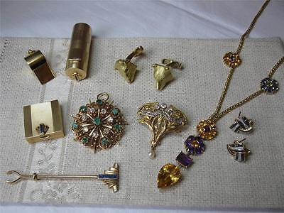 Lily of Valley Bird Brooch Victorian Aesthetic Movement Diamond 16K c1880 Rare! 8
