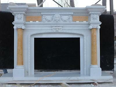 Beautiful Hand Carved Marble European Design Marble Figural Fireplace Mantel 2