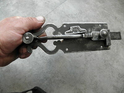 Antique Wrought Iron Sliding Bolt/Lock Plank Door ornate Latch Lock STEEL retro 7