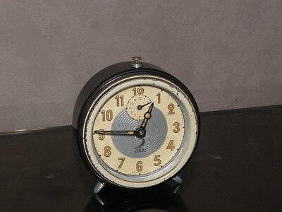 vintage clock alarm jaz retro desk  Art Deco design  Mechanics uhr old french 8