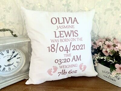 Personalised NEWBORN BABY GIRL CUSHION COVER ANY NAME,DATE,TIME,WEIGHT PILLOW