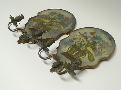 Pair of Wheel Cut Gilded Electric Candle Wall Sconces Sterling Bronze New York 2
