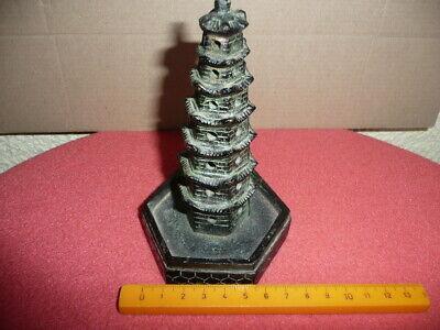 Antique Small Cast Bronze Chinese Temple,Pagoda,Sticks Incense Burner,NicePatina 12