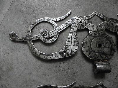 Antique Wrought Cast Iron Door Strap Hinges Baroque Door ornate old no copie 17 3