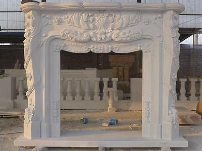 Beautiful Hand Carved Marble European Design Marble Figural Fireplace Mantel Z6 2