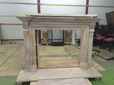Beautiful Large Hand Carved Marble Estate Fireplace Mantel - Jd604 2