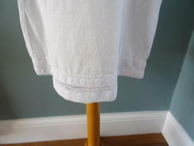Antique Petticoat Victorian Young Girls White Cotton Embroidered Lace 7