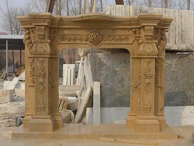 Beautiful Hand Carved Marble European Design Marble Figural Fireplace Mantel 9