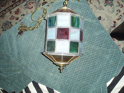 Vintage Hand Made Stained Glass 10 Sided Swag Light Fixture (Needs Cord) ! 2