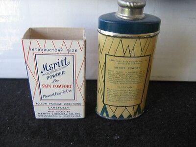 Vintage Sample MERITT POWDER TIN in Original Sleeve Box