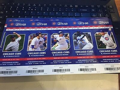 2015 Chicago Cubs Season Ticket Stub Pick Your Game Bryant Arrieta Rizzo Soler 3