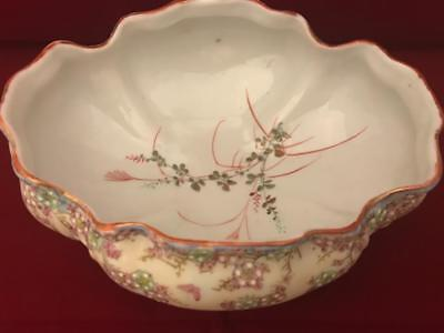 "AA Vantine Nippon Era 8"" Footed Low Bowl w Raised Enamel Flowers and Butterflies 3"
