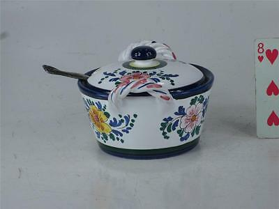 Art Pottery Italy Hand Painted JELLY JAM POT Spoon Slotted lid  Finial Handle 11