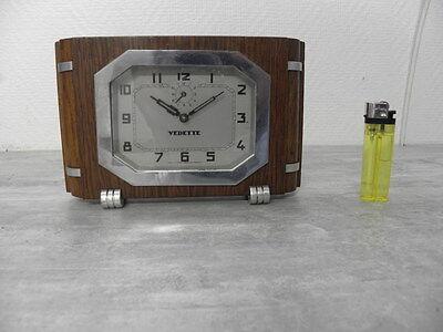 vintage wood clock alarm vedette retro desk  Art Deco design Mechanics uhr 5