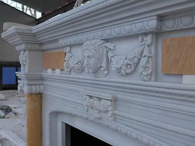 Beautiful Hand Carved Marble European Design Marble Figural Fireplace Mantel 7