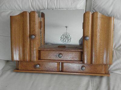 Vintage Shelf stand Cabinet Cupboard Furniture Makeup Storage Mirror old wood 2