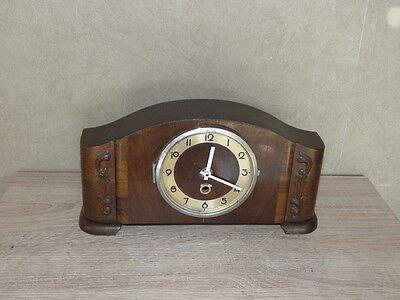 vintage wood clock  Electro-Mechanical Battery art deco vtg retro old carved 2