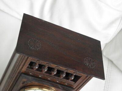 STUNNING ANTIQUE MINIATURE wood MANTLE CLOCK vintage retro uhr 7