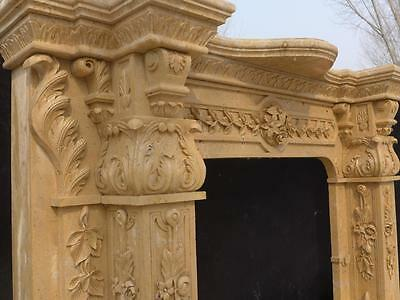 Beautiful Hand Carved Marble European Design Marble Figural Fireplace Mantel 6