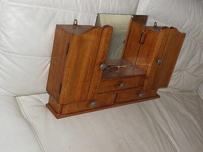Vintage Shelf stand Cabinet Cupboard Furniture Makeup Storage Mirror old wood 3