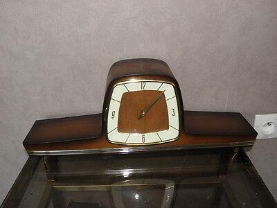vintage mantel wood clock CHIMING HERMLE Electro-Mechanical Battery art deco vtg 7