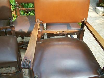 Poltrone Vecchie In Pelle.4 Antiche Sedie X Studio Professionale Poltrona Padronale Legno